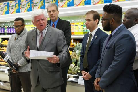 Rep. McGee stands with fellow legislators as Congressman Larson announces new legislation