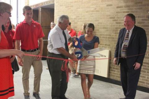 Ribbon cutting at St. Bernard School