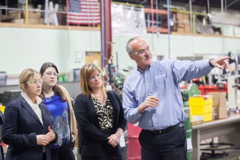 Rep. Linehan during a tour of Marion Manufacturing in Cheshire